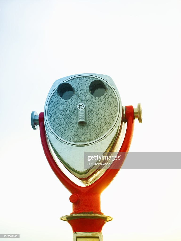 Coin operated binoculars with white background : Stock Photo
