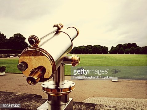 Coin-operated telescope on field