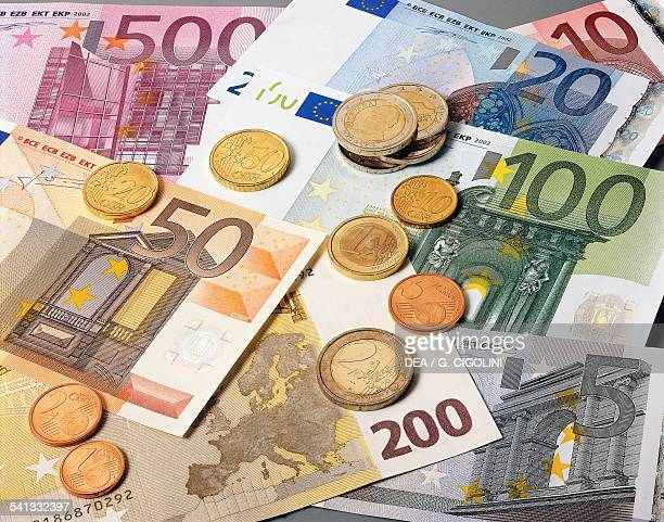 Coins and banknotes euro Europe 21st century