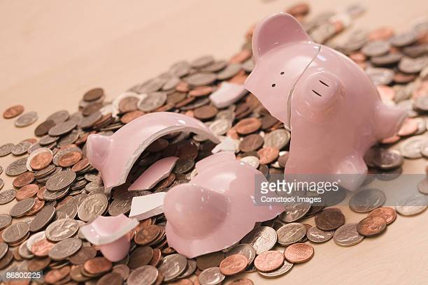 Coins and broken piggy bank