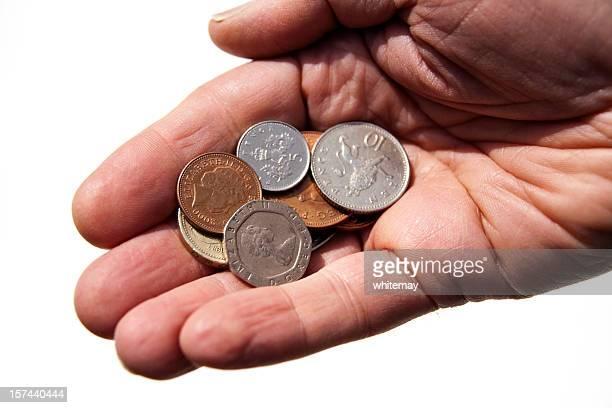 Coins in open hand