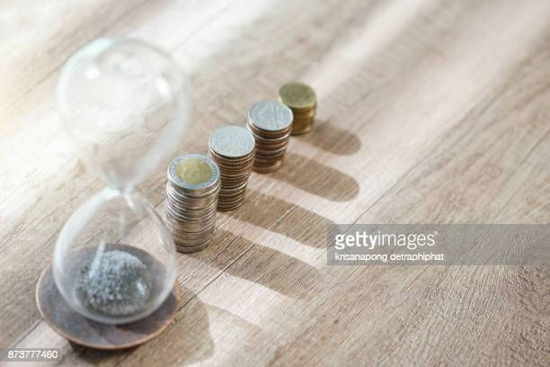 Coins line for money thinking business concept