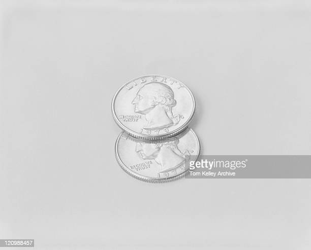 US coins on white background