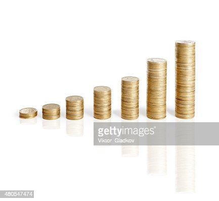 coins stacks isolated on white : Stock Photo