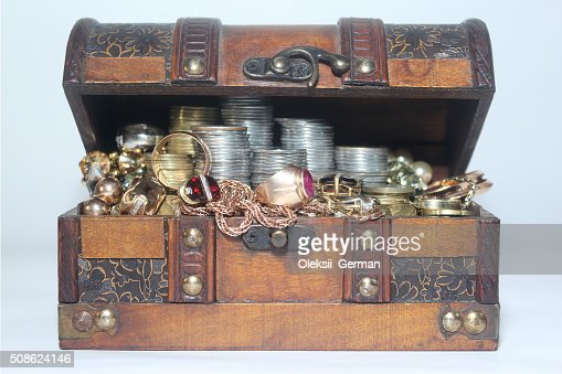 Coins_And_Gold_In_The_Chest : Stock Photo
