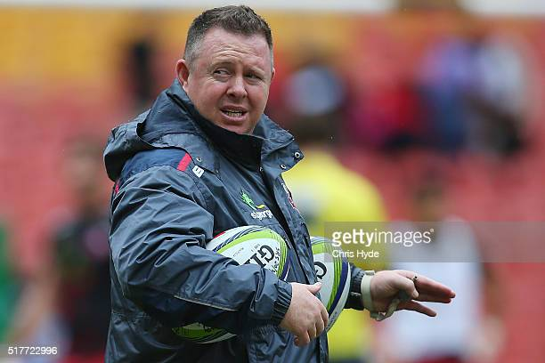 Cointerim Head Coach Matt O'Connor looks on during the round five Super Rugby match between the Reds and the Waratahs at Suncorp Stadium on March 27...
