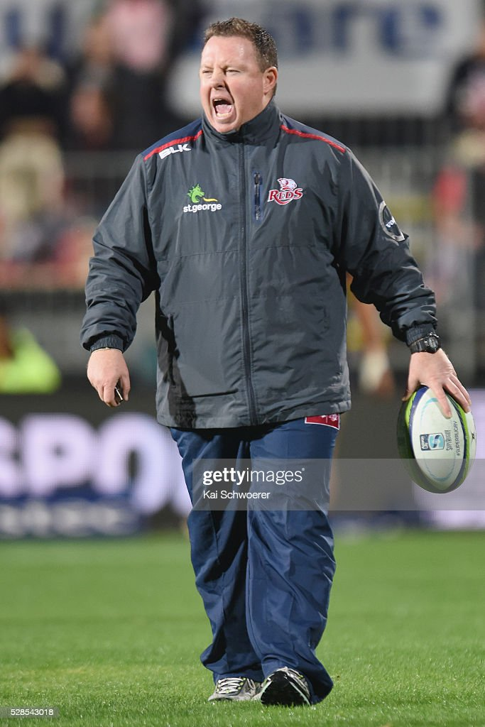 Co-Interim Head Coach <a gi-track='captionPersonalityLinkClicked' href=/galleries/search?phrase=Matt+O%27Connor+-+Entrenador+de+rugby&family=editorial&specificpeople=13783988 ng-click='$event.stopPropagation()'>Matt O'Connor</a> of the Reds reacting prior to the round 11 Super Rugby match between the Crusaders and the Reds at AMI Stadium on May 6, 2016 in Christchurch, New Zealand.