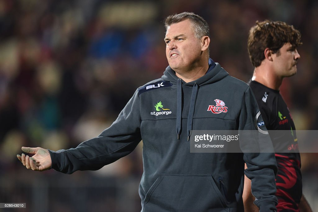 Co-Interim Head Coach Nick Stiles of the Reds reacting prior to the round 11 Super Rugby match between the Crusaders and the Reds at AMI Stadium on May 6, 2016 in Christchurch, New Zealand.