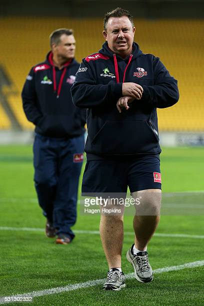 Cointerim head coaches Matt O'Connor and Nick Stiles of the Reds look on during the round 12 Super Rugby match between the Hurricanes and the Reds at...