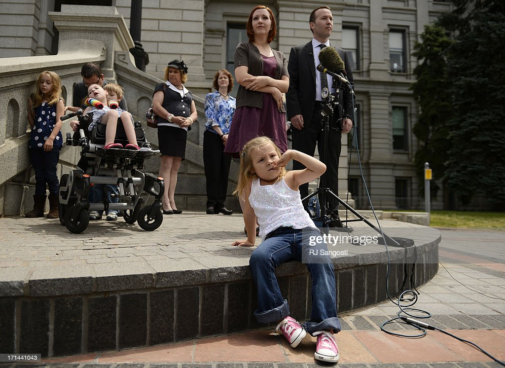 Six-year-old Coy Mathis was front and center during a press conference on the steps of the Colorado State Capitol to announce that the Colorado Civil Rights Division has ruled in favor of Coy Mathis, whose school had barred her from using the girls bathroom at her elementary school because she is transgender, June 24, 2013. Coy was labeled male at birth, but has always known that she is a girl, which she has expressed since she was 18 months old.