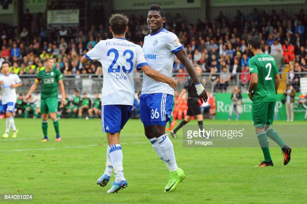 Coke of Schalke and Breel Embolo of Schalke celebrate a goal during the preseason friendly match between FC Gütersloh and FC Schalke 04 on August 31...