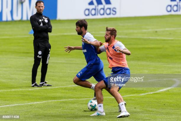 Coke of Schalke and Guido Burgstaller of Schalke battle for the ball during the Training Camp of FC Schalke 04 on July 27 2017 in Mittersill Austria