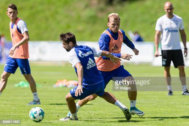 Coke of Schalke and Max Meyer of Schalke battle for the ball during the Training Camp of FC Schalke 04 on July 29 2017 in Mittersill Austria