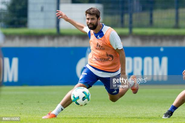 Coke of Schalke controls the ball during a training session at the FC Schalke 04 Training center on July 5 2017 in Gelsenkirchen Germany