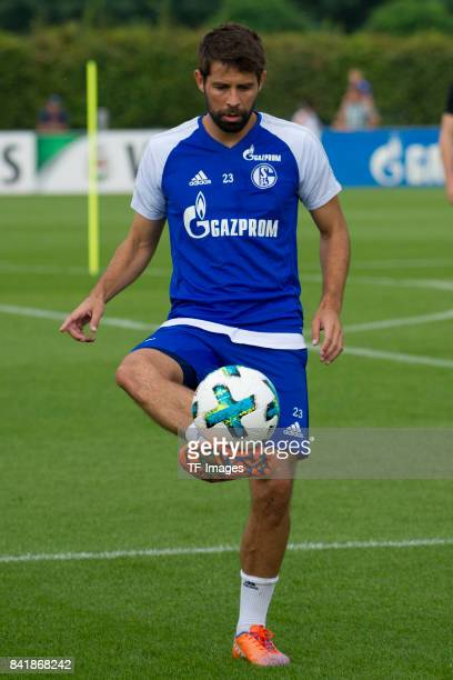 Coke of Schalke controls the ball during a training session at the FC Schalke 04 Training center on August 30 2017 in Gelsenkirchen Germany