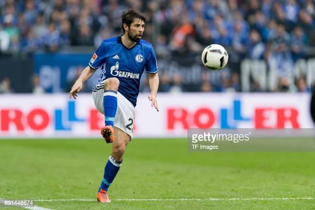 Coke of Schalke controls the ball during the Bundesliga match between FC Schalke 04 and RB Leipzig at VeltinsArena on April 23 2017 in Gelsenkirchen...