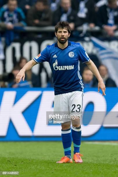 Coke of Schalke gestures during the Bundesliga match between FC Schalke 04 and RB Leipzig at VeltinsArena on April 23 2017 in Gelsenkirchen Germany