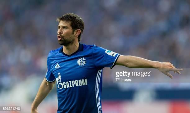 Coke of Schalke gestures during to the Bundesliga match between FC Schalke 04 and Hamburger SV at VeltinsArena on May 13 2017 in Gelsenkirchen Germany
