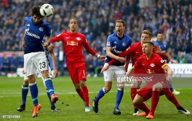 Coke of Schalke heads the ball on goal during the Bundesliga match between FC Schalke 04 and RB Leipzig at VeltinsArena on April 23 2017 in...