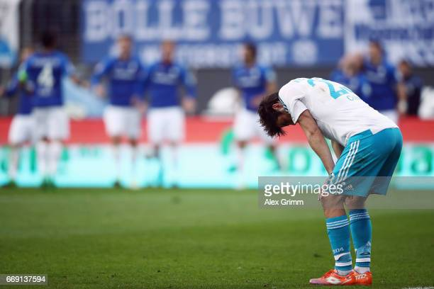 Coke of Schalke reacts after Jerome Gondorf of Darmstadt scored his team's second goal during the Bundesliga match between SV Darmstadt 98 and FC...