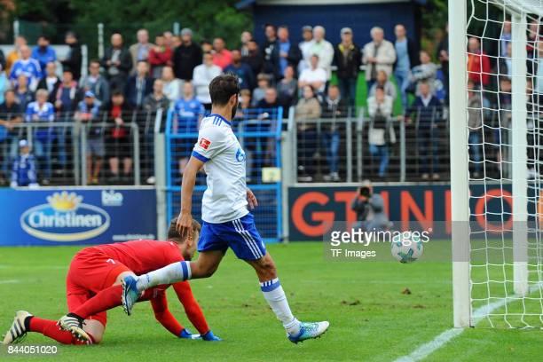 Coke of Schalke scores a goal during the preseason friendly match between FC Gütersloh and FC Schalke 04 on August 31 2017 in Gütersloh Germany