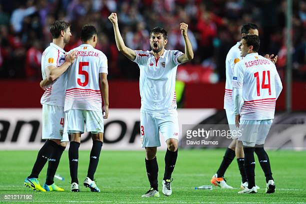 Coke of Sevilla celebrates in the penalty shoot out during the UEFA Europa League quarter final second leg match between Sevilla and Athletic Bilbao...