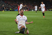 Coke of Sevilla celebrates scoring his team's second goal during the UEFA Europa League Final match between Liverpool and Sevilla at St JakobPark on...