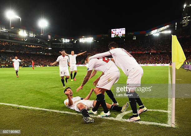 Coke of Sevilla celebrates scoring his team's second goal with his team mates during the UEFA Europa League Final match between Liverpool and Sevilla...