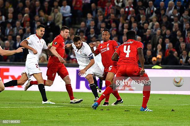 Coke of Sevilla scores his team's second goal during the UEFA Europa League Final match between Liverpool and Sevilla at St JakobPark on May 18 2016...