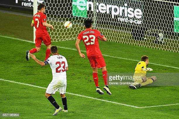 Coke of Sevilla scores his team's third goal during the UEFA Europa League Final match between Liverpool and Sevilla at St JakobPark on May 18 2016...