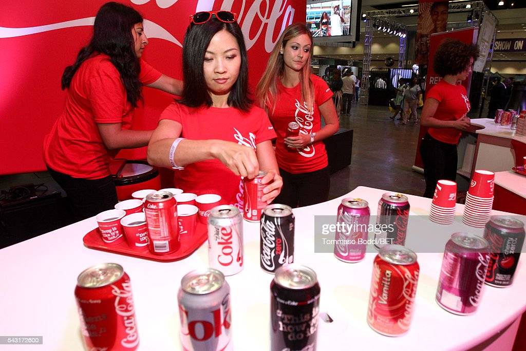 Coke products are served during the Coke music studio during the 2016 BET Experience on June 26, 2016 in Los Angeles, California.