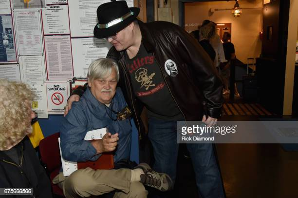 Col Bruce Hampton and John Popper of Blue Traveler backstage at 'Hampton 70 A Celebration Of Col Bruce Hampton' at The Fox Theatre on May 1 2017 in...