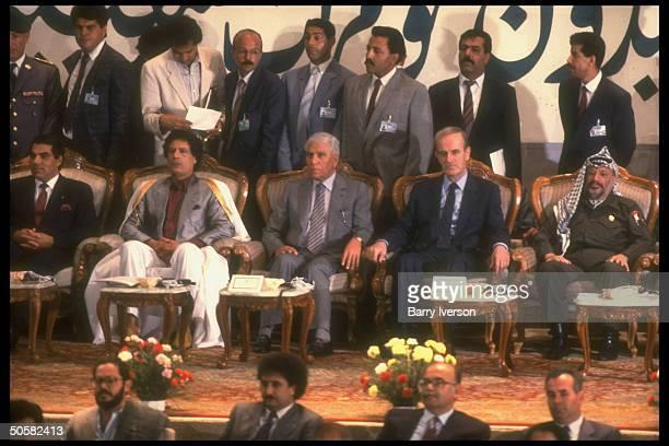 Col Gaddafy w guest ldrs Arafat Assad Chadli Ben Ali marking 20th anniv of Gaddafy rev at People's Cong