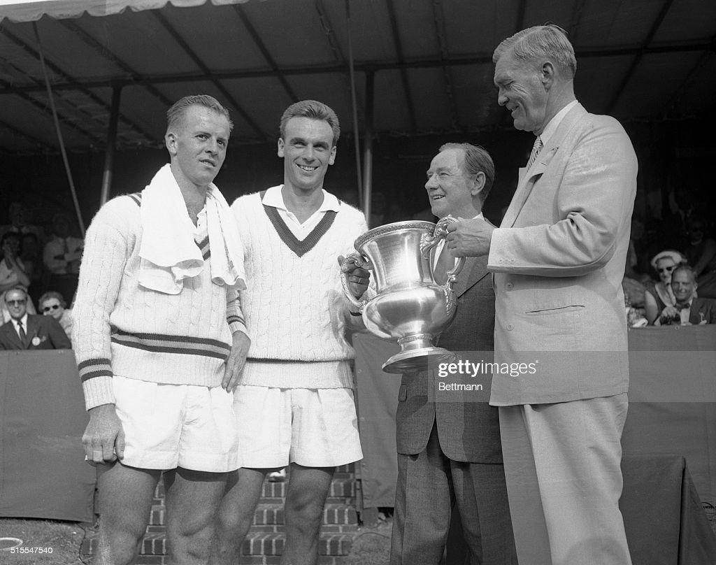 James Bishop Presenting Vic Seixas With Winning Trophy