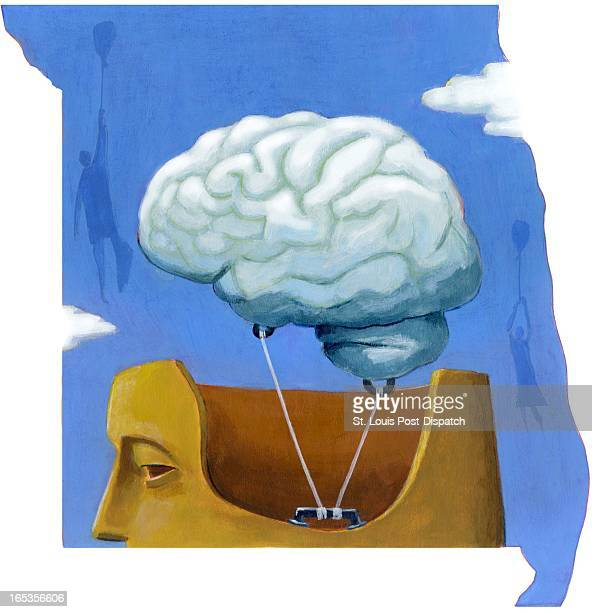 5 col x 10 in / 246x254 mm / 837x864 pixels Brian Williamson color illustration of brain as a hot air balloon tethered to a head to keep from...