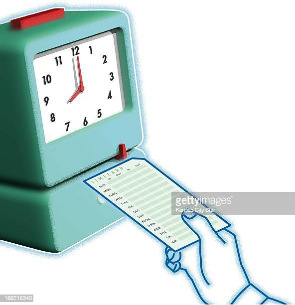 5 col x 10 in / 246x254 mm / 837x864 pixels Gentry Mullen color illustration of hand holding timecard preparing to punch in the clock