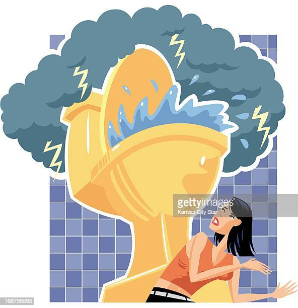 5 col x 10 in / 246x254 mm / 837x864 pixels Noah Musser color illustration of a woman running away from a raging storm over a bathroom toilet