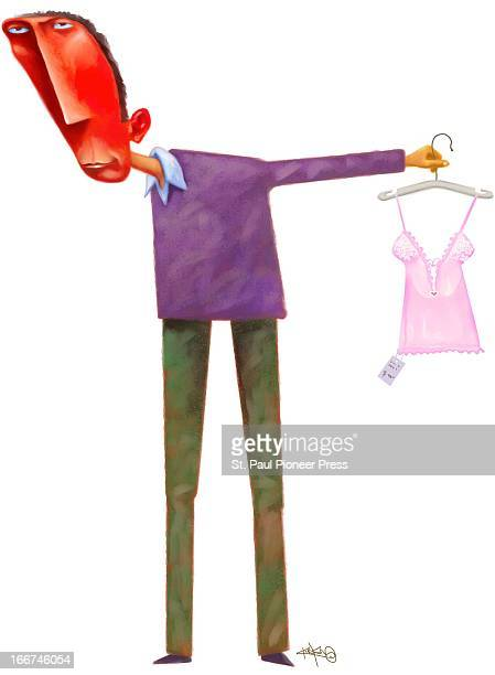 4 col x 105 in / 196x267 mm / 667x907 pixels Kirk Lyttle color illustration of redfaced man selecting lingerie for a gift