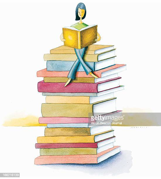 5 col x 1075 in / 246x273 mm / 837x929 pixels Kathy Hagedorn color illustration of woman reading book while perched on top of a stack of books