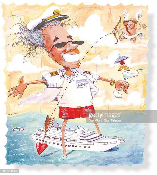 5 col x 1075 in / 246x273 mm / 837x929 pixels Mark Hoffer color illustration of a smiling suntanned cruise ship passenger with with tropical drink in...