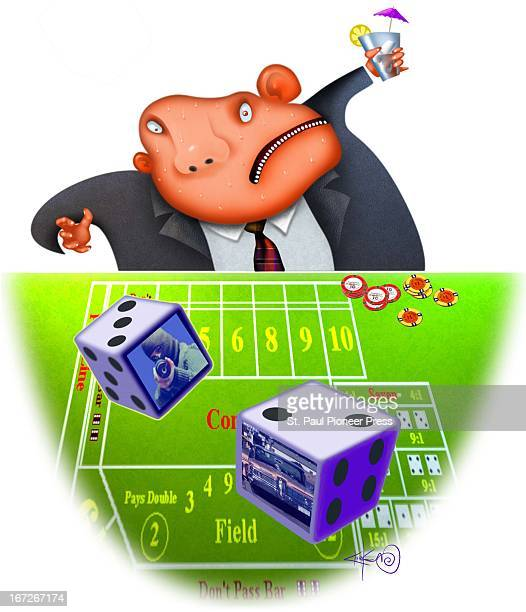 5 col x 1125 in / 246x286 mm / 837x972 pixels Kirk Lyttle color illustration of a nervous network executive gambling on a fall TV lineup