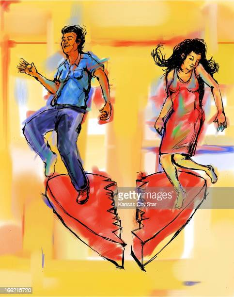 5 col x 1225 in / 246x311 mm / 837x1058 pixels Ryan Gallet color illustration of a man and woman dancing for joy on either side of a broken heart