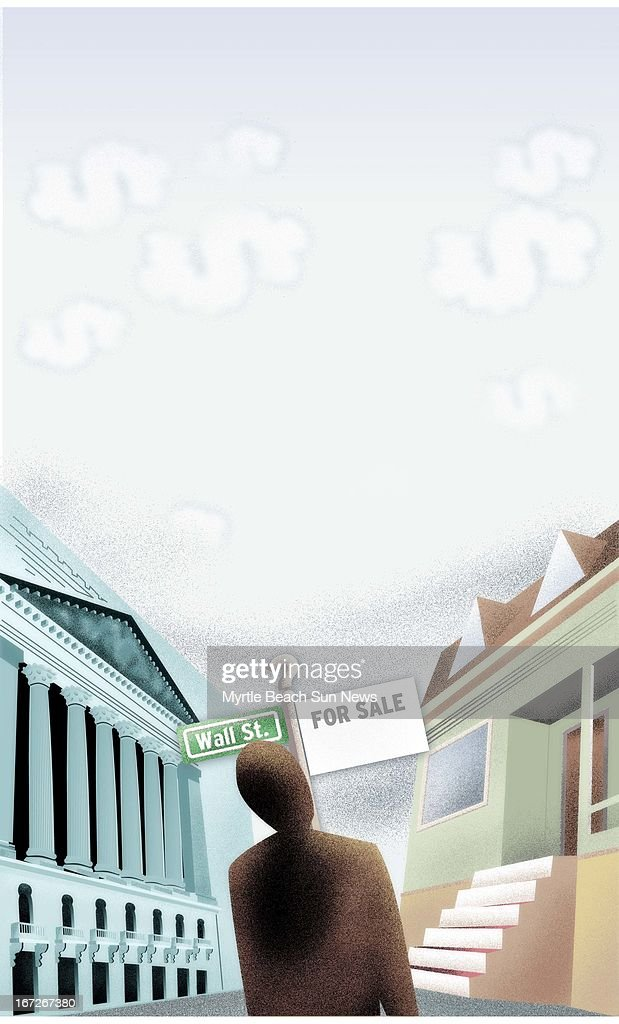4 col x 1275 in / 196x324 mm / 667x1102 pixels Jason H Whitley color illustration of investor trying to decide where to put his money Wall Street or...