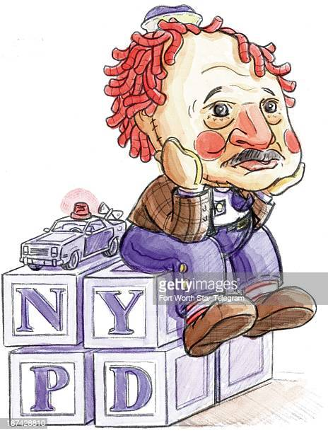 5 col x 1275 in / 246x324 mm / 837x1102 pixels Dave Seymour color illustration of Dennis Franz from TV's 'NYPD Blue' dressed as an unhappy Raggedy...