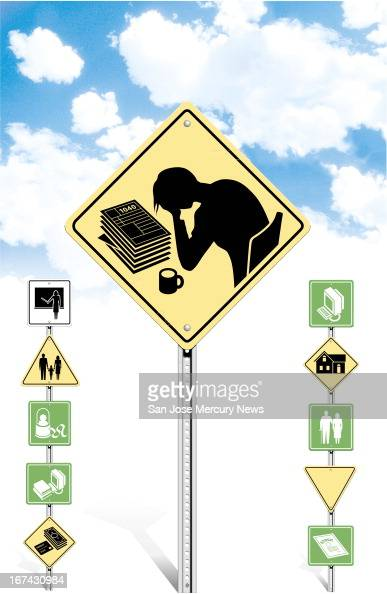 4 col x 1325 inches/220x337 mm/749x1145 pixels Doug Griswold color illustration of taxtime road signs centerpiece is a caution sign with silhouette...