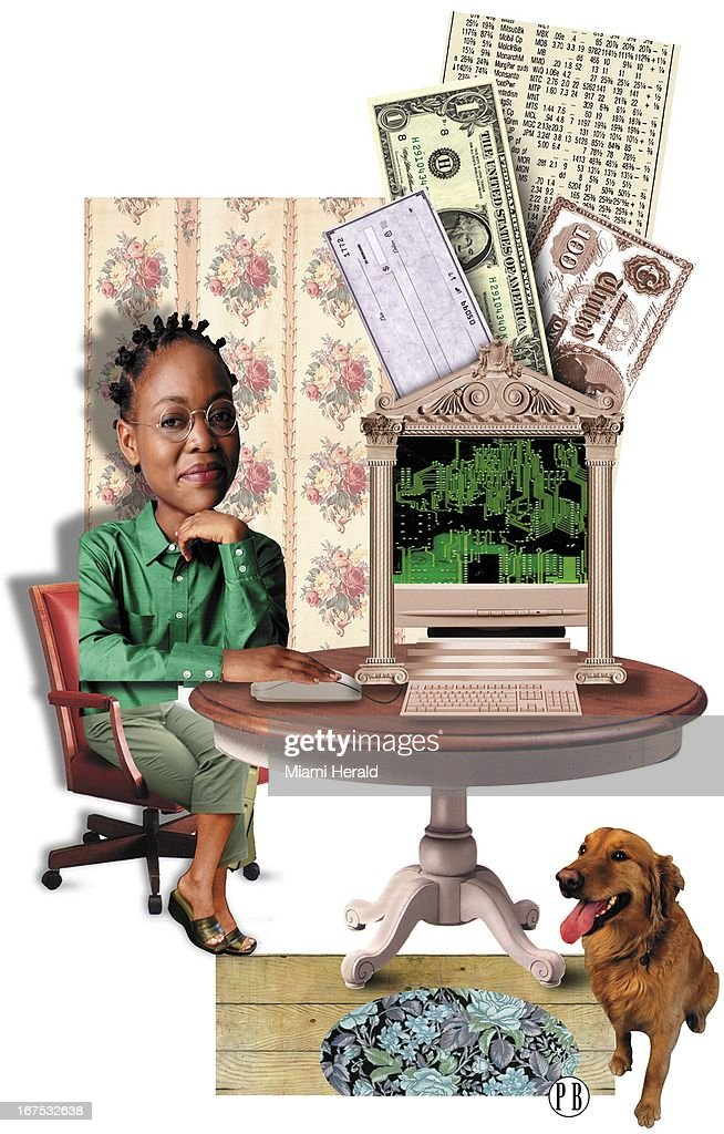 4 col x 135 inches/220x343 mm/749x1166 pixels Philip Brooker color illustration of woman at home sitting at a kitchen table with her computer that...