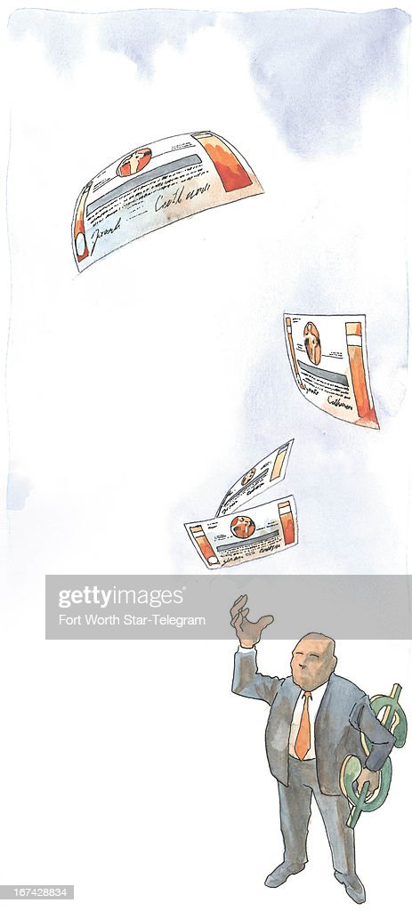 3 col x 1425 inches/164x362 mm/558x1231 pixels Jim Atherton color illustration of a businessman holding a large dollar sign reaching up to receive...