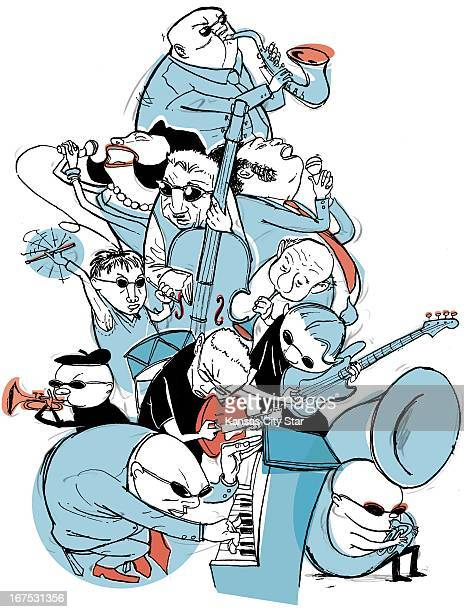 4 col x 1425 inches/220x362 mm/749x1231 pixels Hector Casanova color illustration of a jazz band in full swing