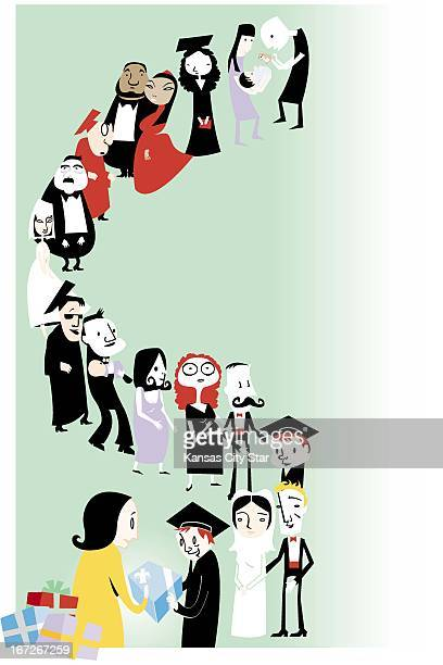 5 col x 145 in / 246x368 mm / 837x1253 pixels Hector Casanova color illustration of people lined up to receive their gifts for weddings graduations...