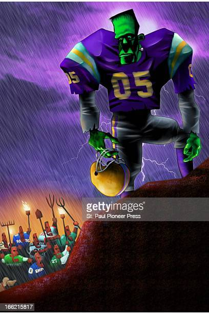 5 col x 145 in / 246x368 mm / 837x1253 pixels Kirk Lyttle color illustration of a Frankenstein monster as a football player being driven out of...